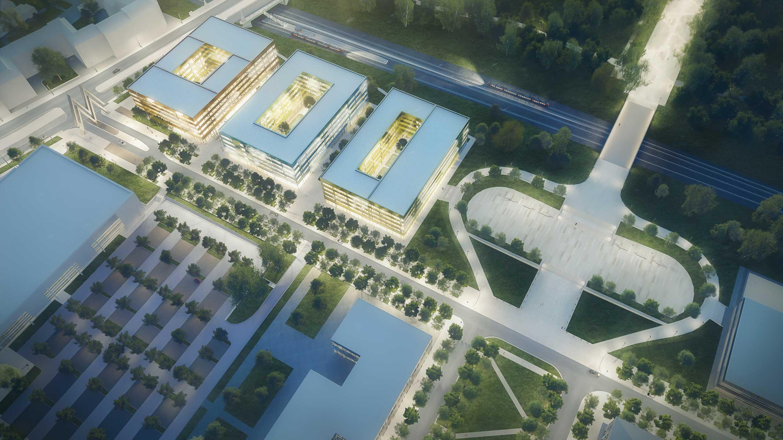 KLM Architekten Leipzig Life Science Zentrum Ansicht aus der Luft