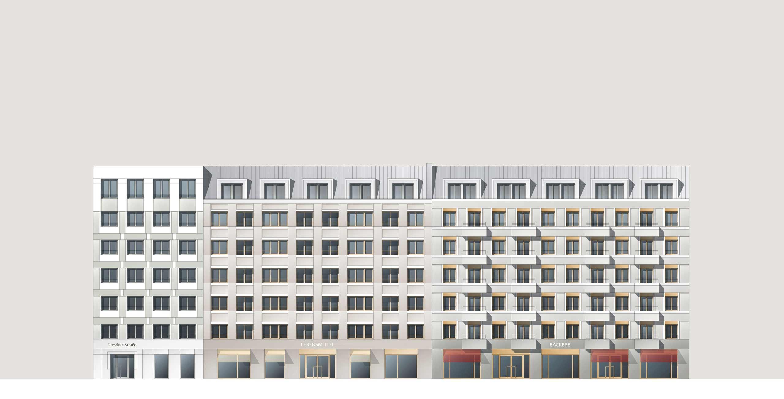 KLM Architekten Wohnungsbau Leipzig Dresdner Strasse Ansicht 01